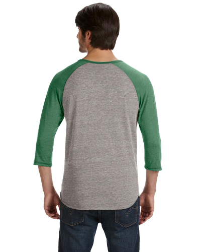 Men's Eco-Jersey 3/4-Sleeve Raglan Henley back Image